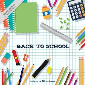 Fundo da folha de caderno com material escolar