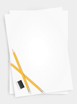 Fundo da folha do livro branco com lápis e eliminador.