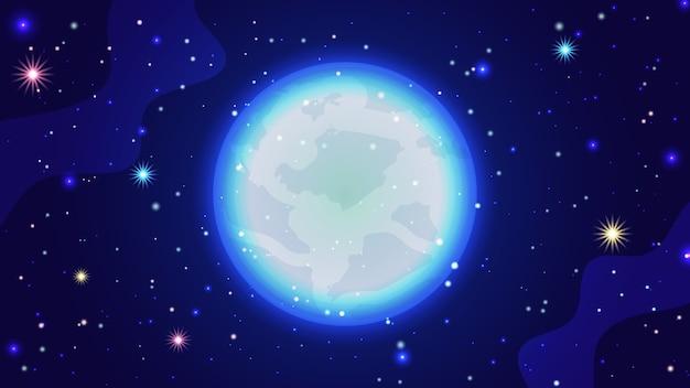 Fundo da galáxia. modelo de ilustração vetorial cósmica linda com céu estrelado, lua brilhante e galáxias