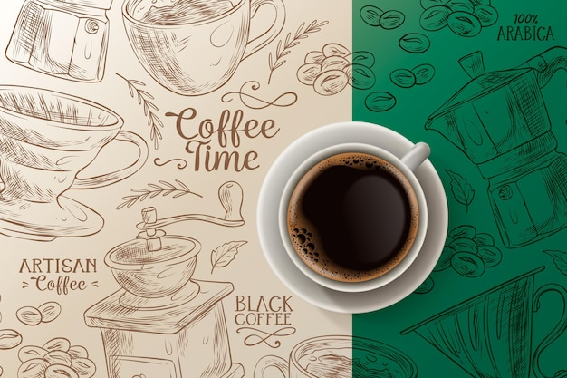 Fundo da hora do café com xícara e prato