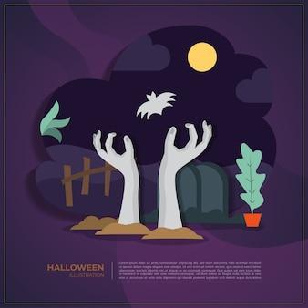 Fundo da ilustração da mão inoperante do vetor de halloween.