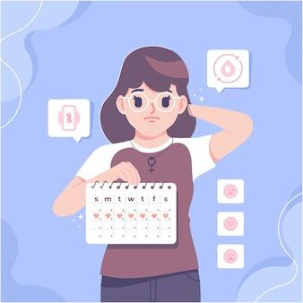 Fundo da ilustração do conceito da mulher e do calendário de período
