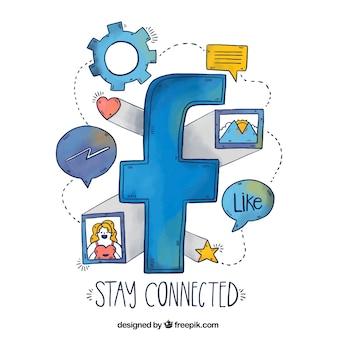 Fundo da ilustração do facebook e elementos