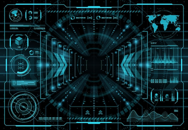Fundo da interface do portal de teletransporte do hud