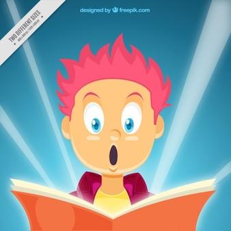 Fundo da leitura menino surpreendido