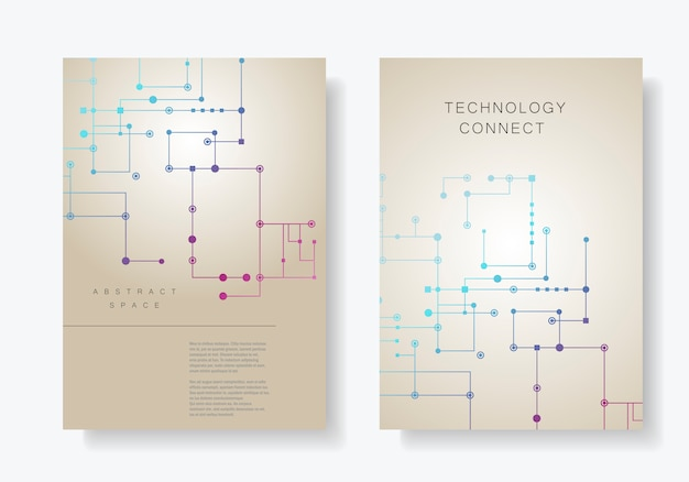 Fundo da linha de circuito, pontos conectados e linhas. abstrato