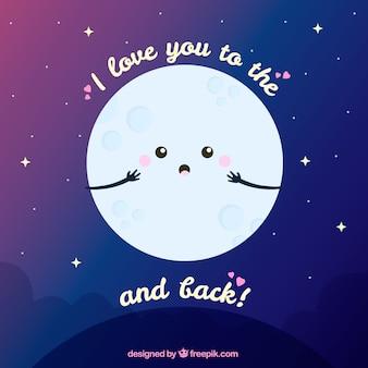 Fundo da lua, com bela frase romântica