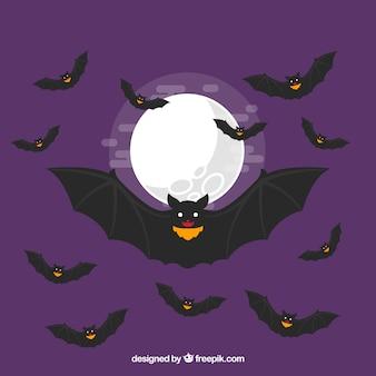 Fundo da lua com morcegos