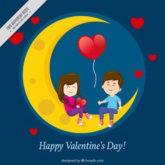 Fundo da lua e pares no amor
