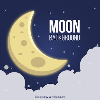 Fundo da lua no céu com nuvens