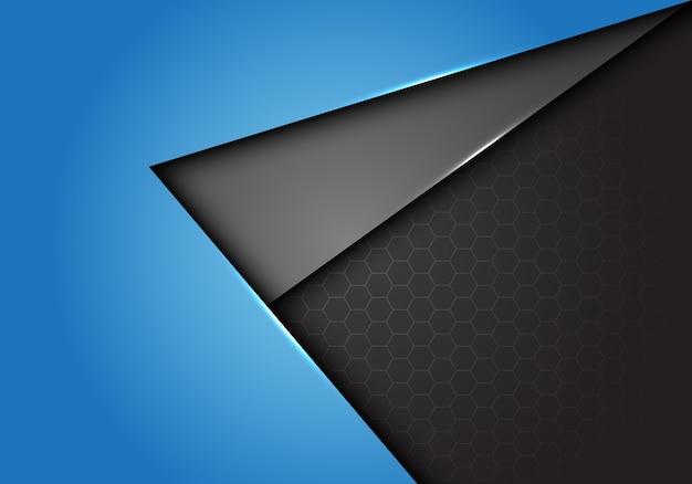 Fundo da malha do hexágono do sentido da seta do cinza azul.