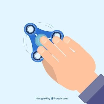 Fundo da mão com girador azul