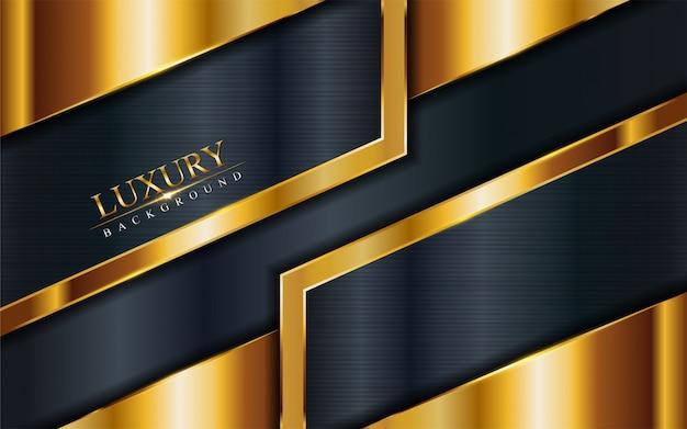 Fundo da marinha cinza luxo com linhas douradas.