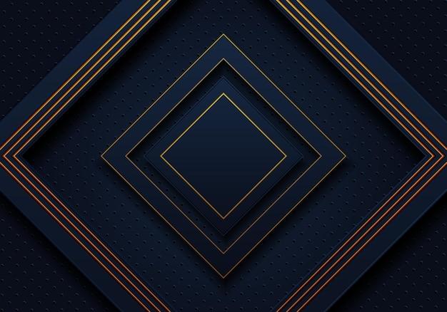 Fundo da marinha escura e retângulos de luxo dourado. ilustração vetorial. fundo abstrato.