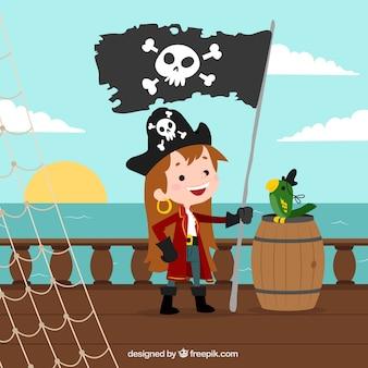 Fundo da menina com bandeira de pirata