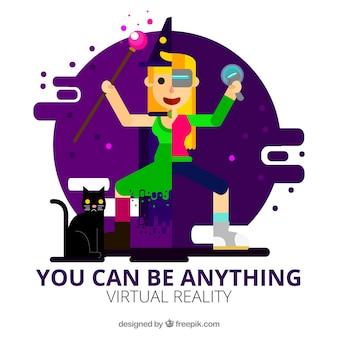 Fundo da menina com jogo de realidade virtual no design plano