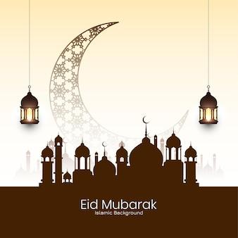 Fundo da mesquita do festival eid mubarak com lua crescente
