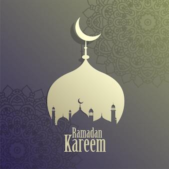 Fundo da mesquita islâmica de ramadan kareem criativo