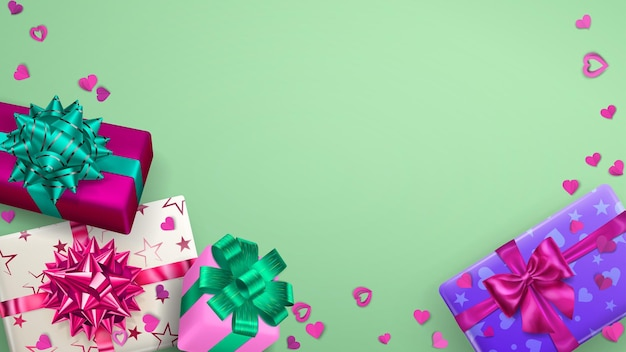Fundo da moldura com caixas de presente multicoloridas com fitas, laços e sombras, e pequenos corações em verde claro