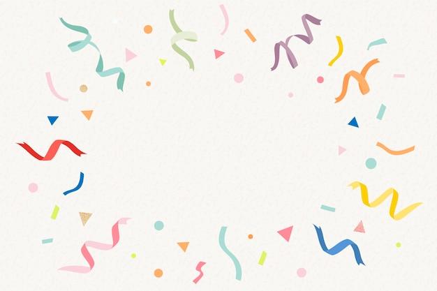 Fundo da moldura de aniversário, fitas coloridas em vetor de cor bege