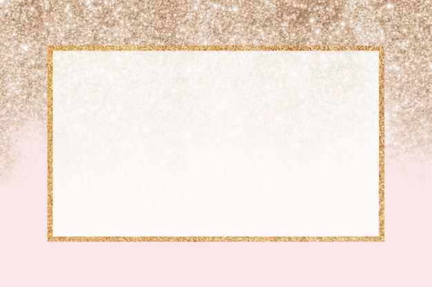 Fundo da moldura do retângulo brilhante dourado