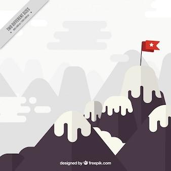 Fundo da montanha com uma bandeira vermelha