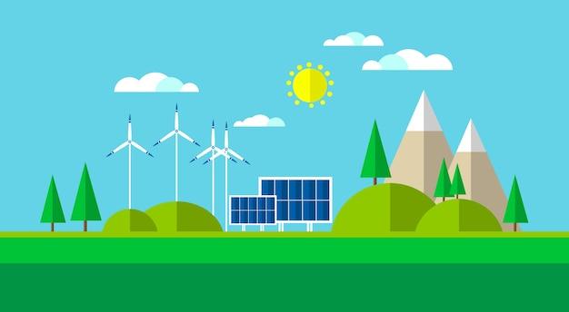 Fundo da montanha do painel da energia solar da turbina eólica