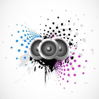 Fundo da música com alto-falantes