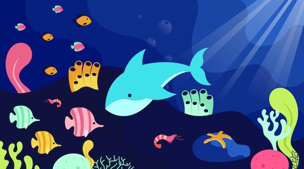 Fundo da natureza da ilustração do dia mundial do oceano