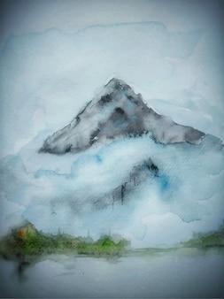 Fundo da natureza das montanhas em aquarela