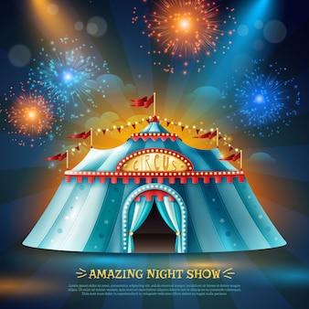 Fundo da noite da barraca de crcus poster