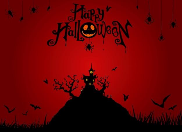Fundo da noite de halloween com abóbora, casa assombrada. flyer para festa de halloween