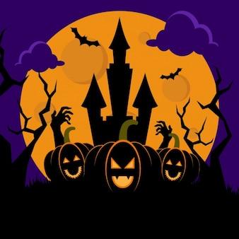 Fundo da noite de halloween com casa assombrada e abóboras