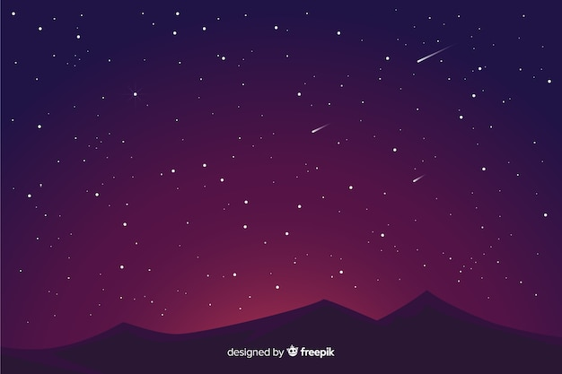 Fundo da noite estrelada gradiente e montanhas