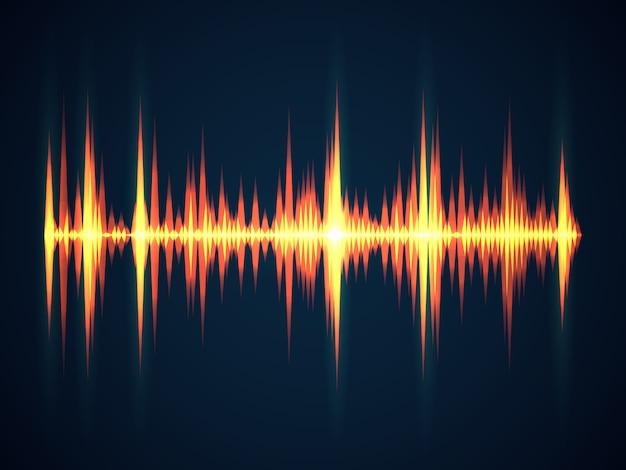 Fundo da onda sonora. música som equalizador digital wireframe ondas tecnológicas de eletricidade para o conceito de frequência digital de estúdio