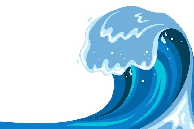Fundo da onda tsumani em estilo cartoon plana. respingos de água tropical azul grande com espuma branca. ilustração vetorial