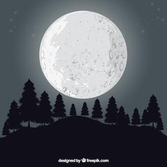 Fundo da paisagem com árvores e lua