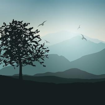 Fundo da paisagem com árvores e pássaros