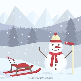 Fundo da paisagem com boneco de neve feliz e trenó