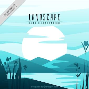 Fundo da paisagem com rio e montanhas em tons de azul