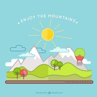 Fundo da paisagem de montanhas e árvores