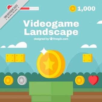 Fundo da paisagem do videogame