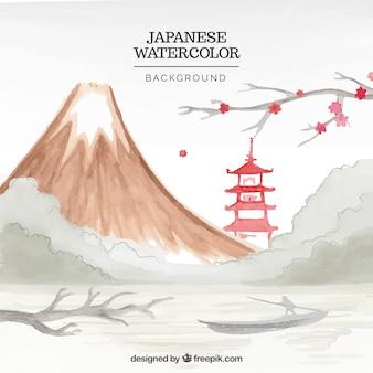 Fundo da paisagem montanhosa japonês com templo aguarela