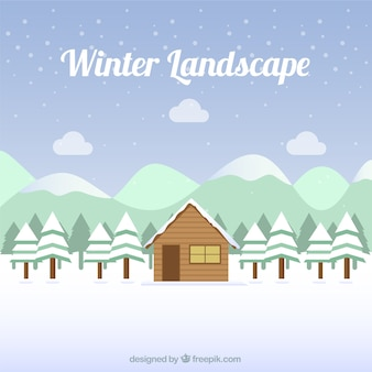 Fundo da paisagem nevado com cabine e pinheiros