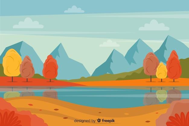 Fundo da paisagem plana de outono