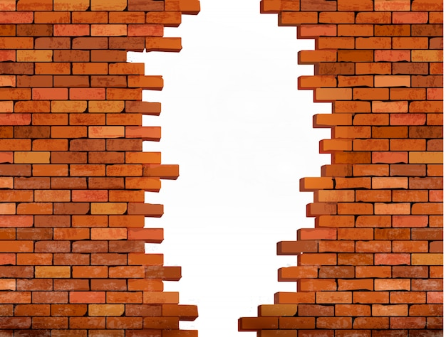 Fundo da parede de tijolo vintage com furo.