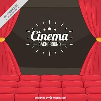 Fundo da película com cortinas e poltronas vermelhas