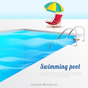 Fundo da piscina com espreguiçadeira e guarda-sol