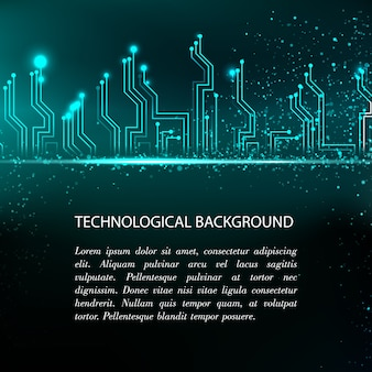 Fundo da placa de circuito com eletrônica azul e modelo de texto de amostra