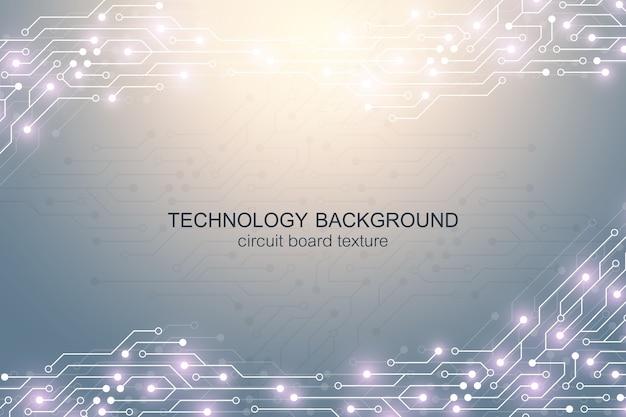 Fundo da placa-mãe do computador com elementos eletrônicos da placa de circuito.
